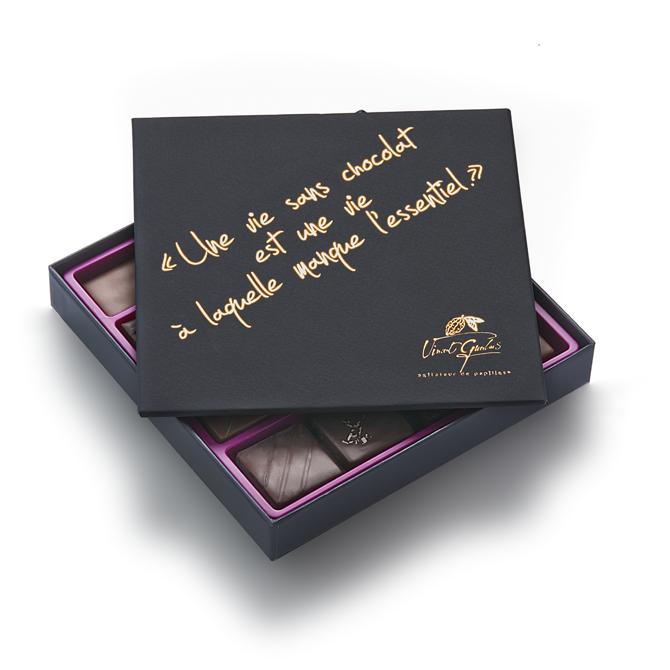 Coffret de chocolats - Edition citation -Tout chocolat noir-2 plateaux - 46 chocolats