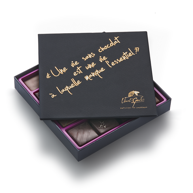 Coffret de chocolats - Edition citation-Tout chocolat noir-4 plateaux - 92 chocolats