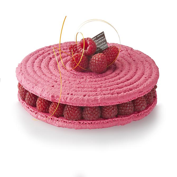 Macaron framboise-3/4 parts