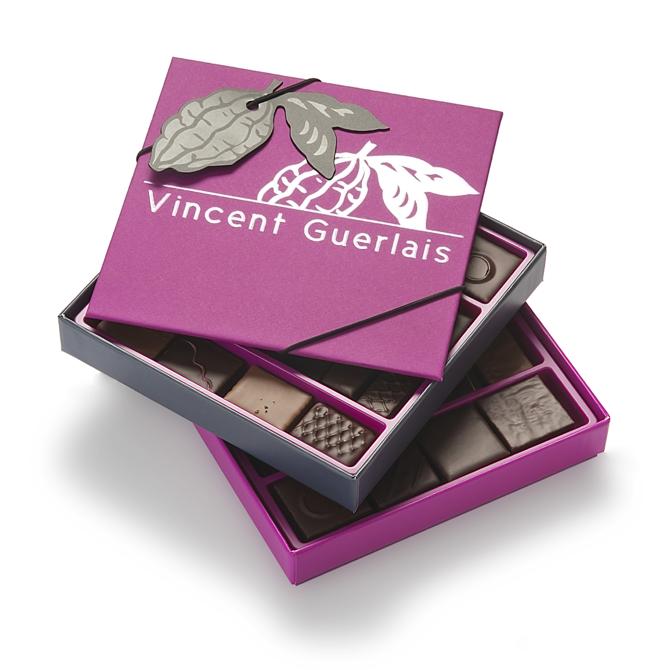 Coffret VG rose-Tout chocolat noir-2 plateaux - 46 chocolats